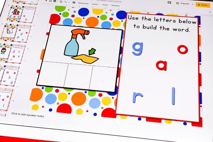 Free Google Slides CVC Word Family Short Vowel 'a' activity for kindergarten. Kids will love building words with this interactive Google Slides literacy activity!