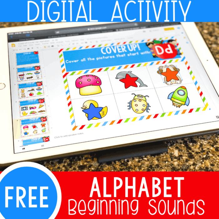 alphabet beginning sounds digital activity for preschool and kindergarten