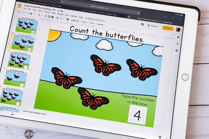 Free Google Slides and Seesaw digital activity for counting with preschoolers, pre-k, and kindergarteners. Practice counting to 10 with a fun spring butterfly theme. Perfect for math centers, distance learning and homeschooling.