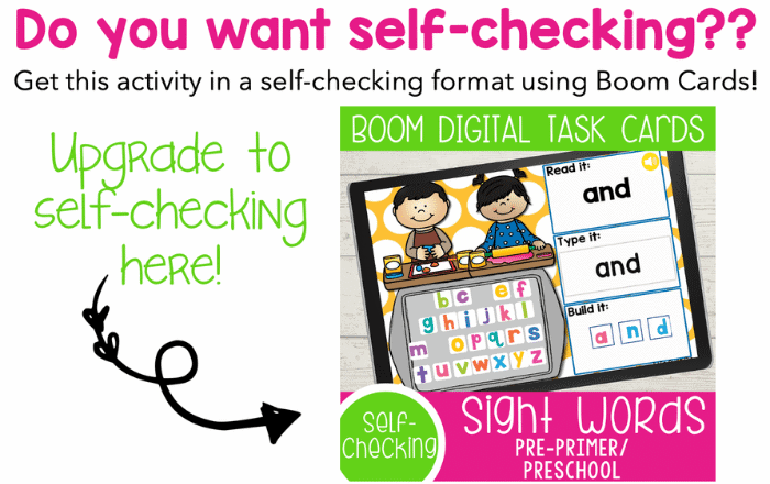 Boom Task Cards Pre-K Sight Words activities for all 40 pre-primer sight words for preschool. Read the word, type the word and build the sight word with letter tiles.