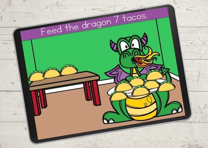 Dragon and tacos digital counting activity for the number 7.