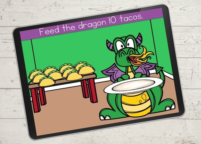 Dragon and tacos digital counting activity for the number 10