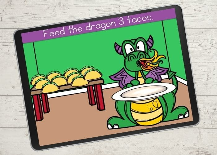 Dragon and tacos digital counting activity for the number 3.