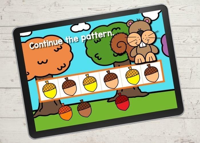 Acorn patterns digital activity for preschoolers.