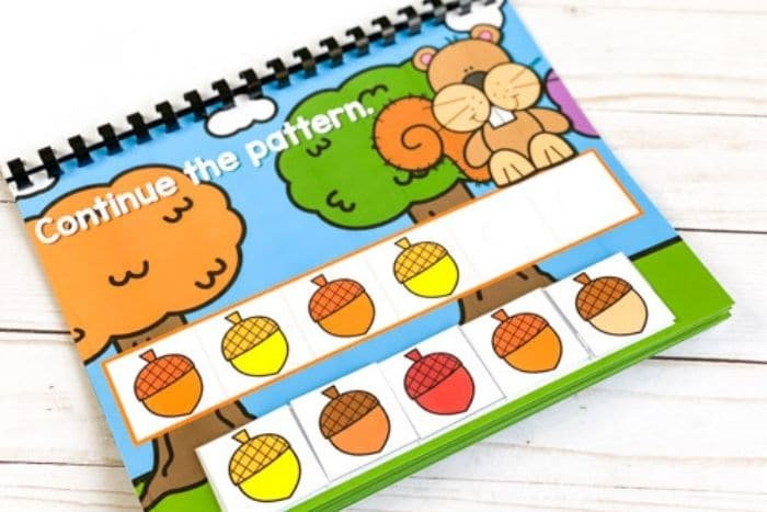 Digital and printable fall patterns for preschool.