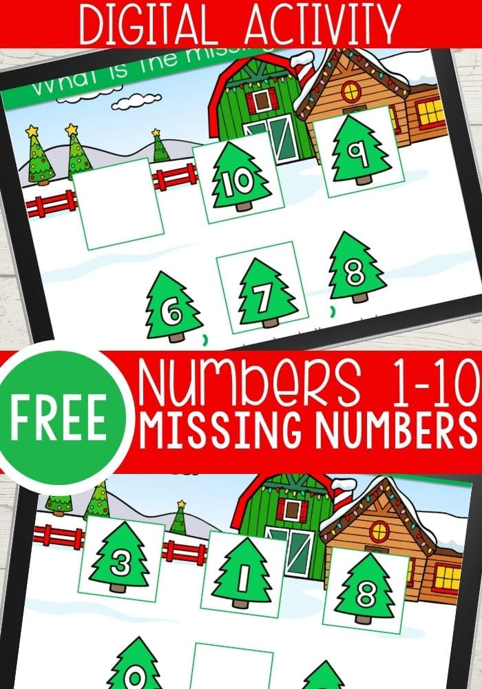 Free digital Christmas theme missing numbers activity for kindergarten
