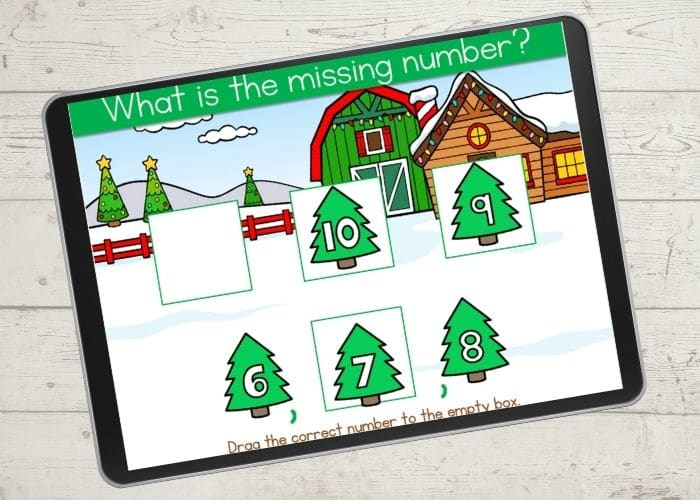 Free digital counting activity with a Christmas theme.