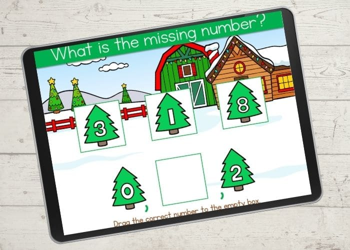 Digital counting game for Kindergarten with a Christmas theme.