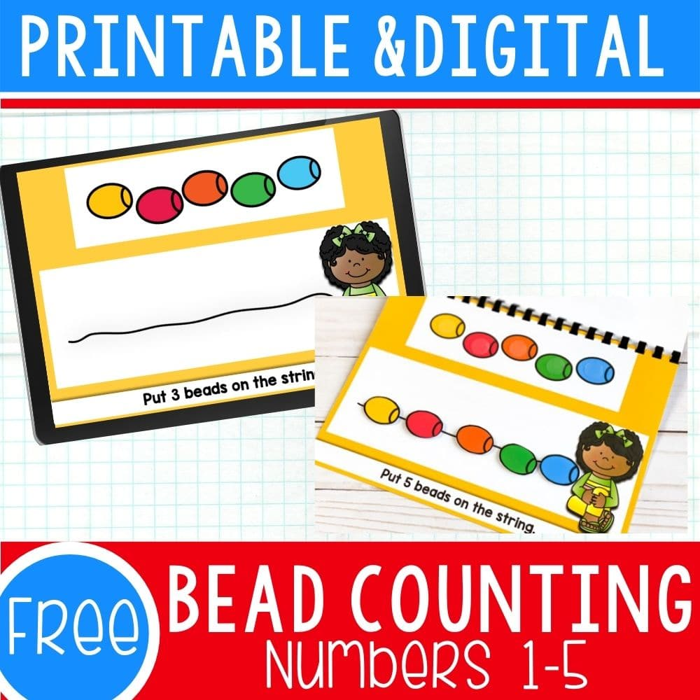 Printable and digital bead counting activity.