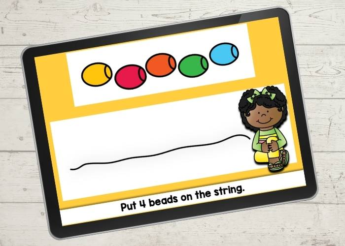 Bead counting activity for preschool.