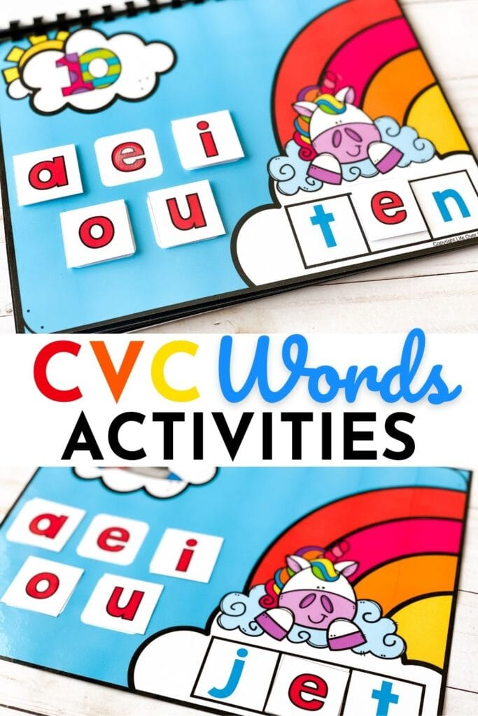 free digital google slides and seesaw and printable cvc word activity for kindergarteners