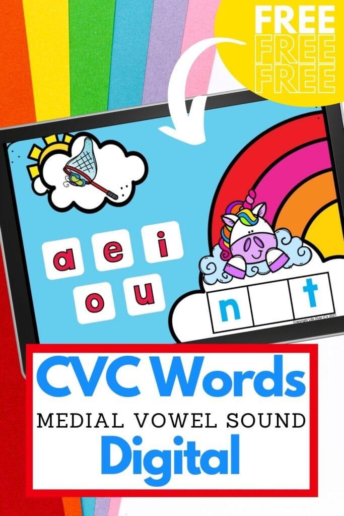 free digital google slides and seesaw cvc word activity for kindergarteners
