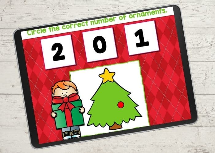 Christmas ornament counting game for preschoolers.