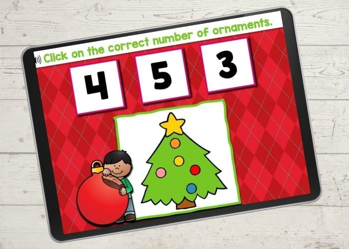 Christmas ornament counting activity for Kindergarten.