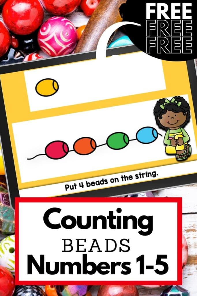 Counting to five activity with colorful beads.
