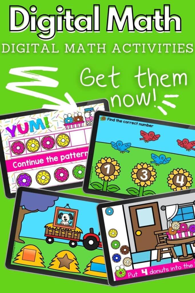 Digital Math Activities for preschool and kindergarten virtual learning