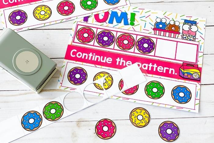 The donuts for the AB donut patterns being cut out.
