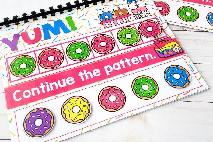 Closeup of the printed donut theme AB patterns activity.