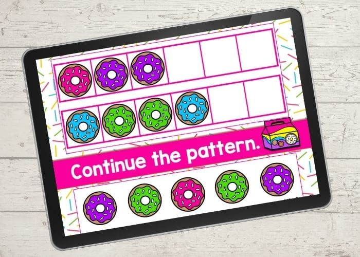 The digital donut theme ABB pattern activity slide for the patterns pink-purple-purple and blue-green-green.