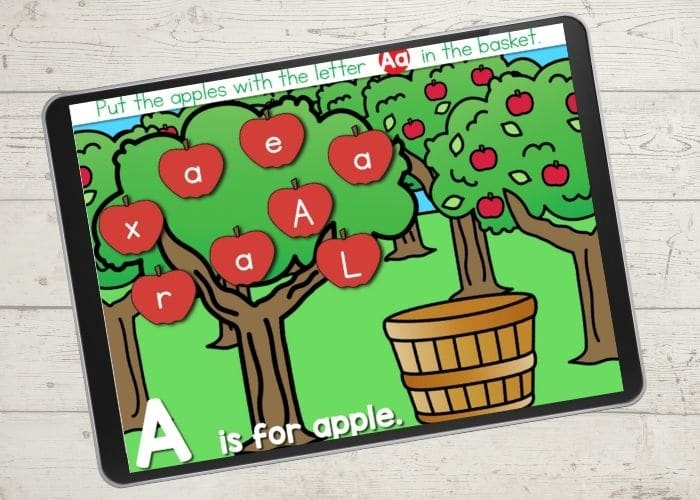 Fall apple themed alphabet recognition digital activity for preschool virtual learning