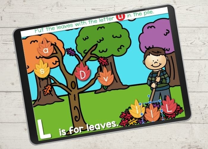Fall leaf themed alphabet recognition digital activity for preschool virtual learning