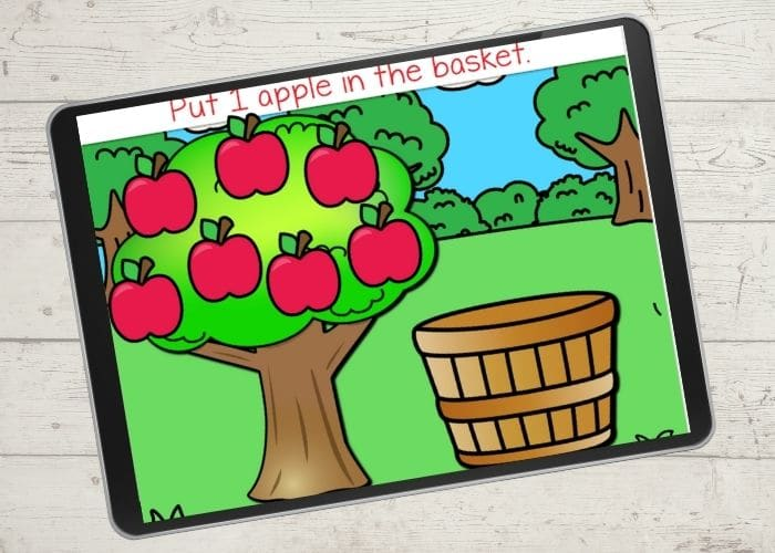 Screenshot of an apple themed counting activity for preschool.