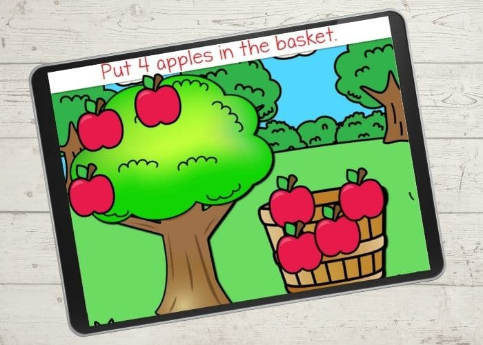 Apple themed digital counting activity for kids.