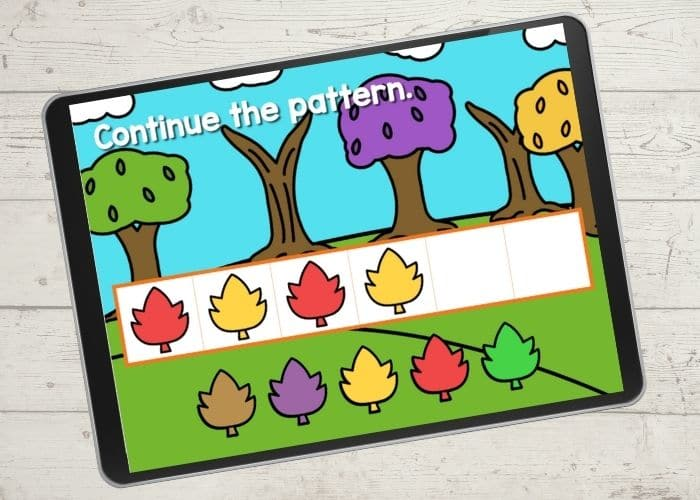 Learning color patterns with leaves in a free digital game for preschoolers.
