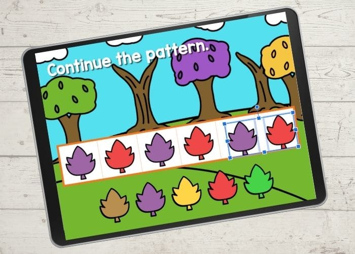 Teaching patterns to preschoolers with a free digital game.
