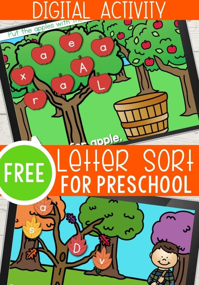 Fall themed alphabet recognition digital activity for preschool virtual learning