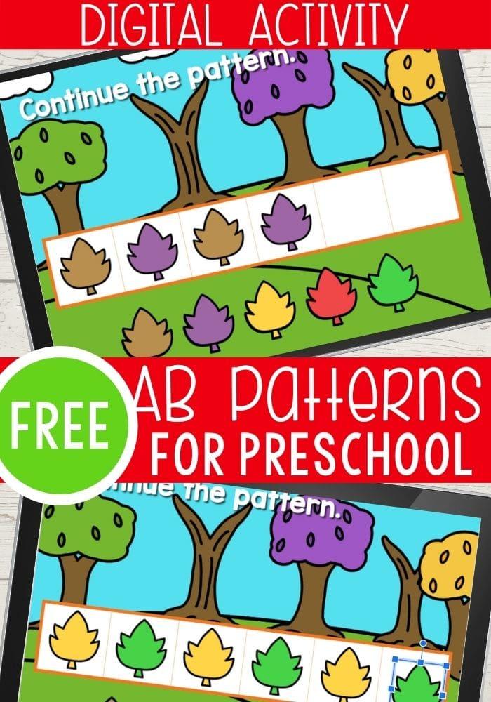 Free fall themed digital activity foe teaching preschoolers AB patterns.