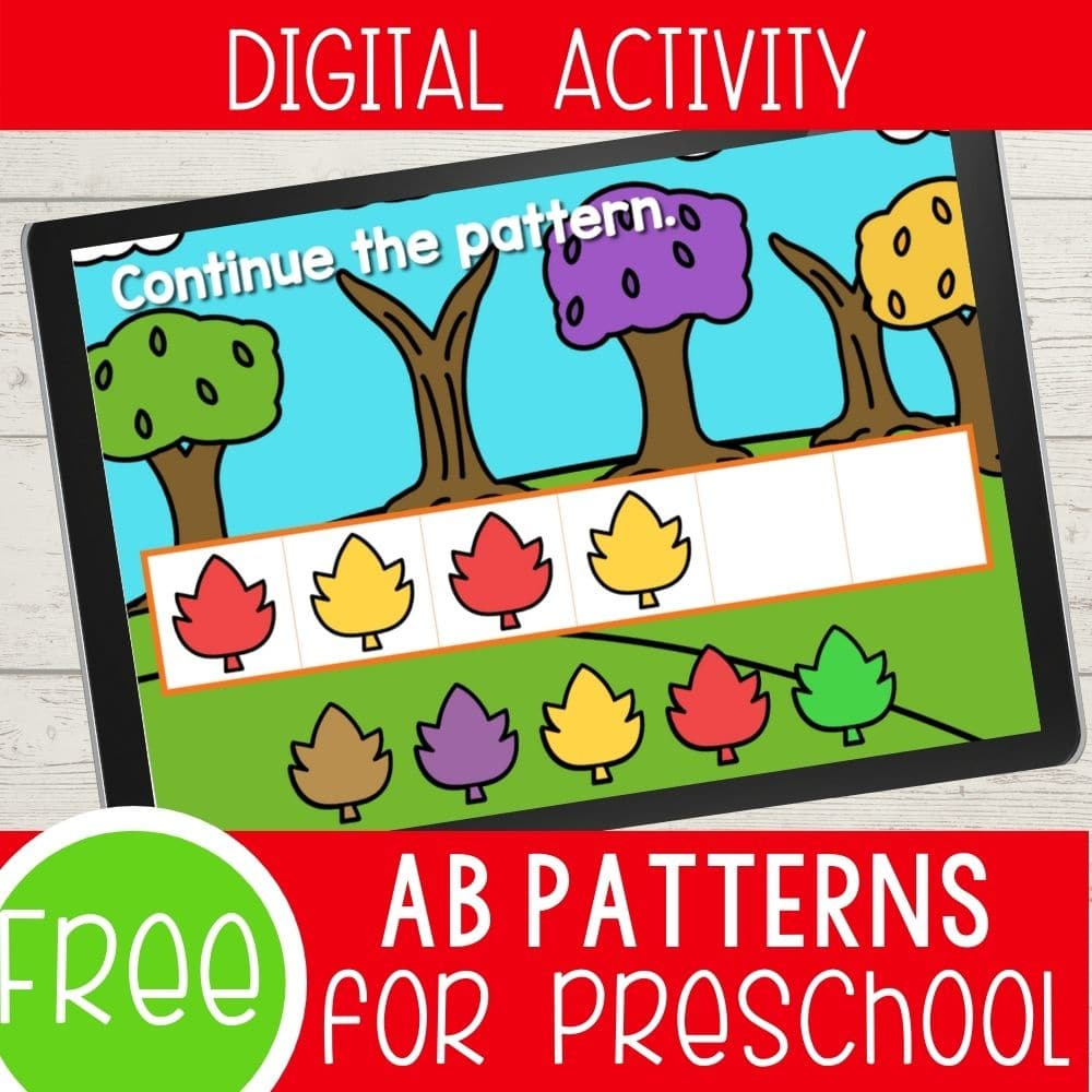 Fall themed AB Patterns for preschool digital activity.
