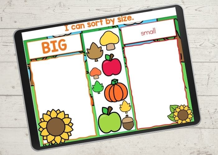 sorting by size activity with fall themed objects.