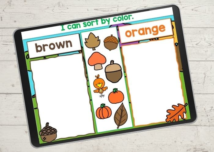Fall themed color sort digital game.