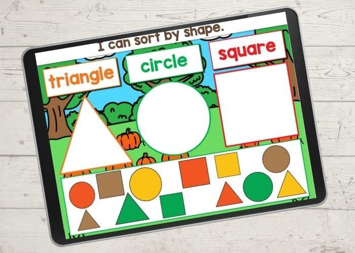 Fall themed shape sorting digital activity.