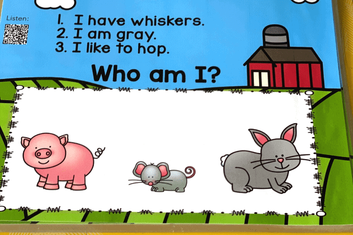 """These free farm animal """"Who am I?"""" inferencing riddles for preschool are a great way to work on listening skills, visual discrimination and have lots of fun!"""