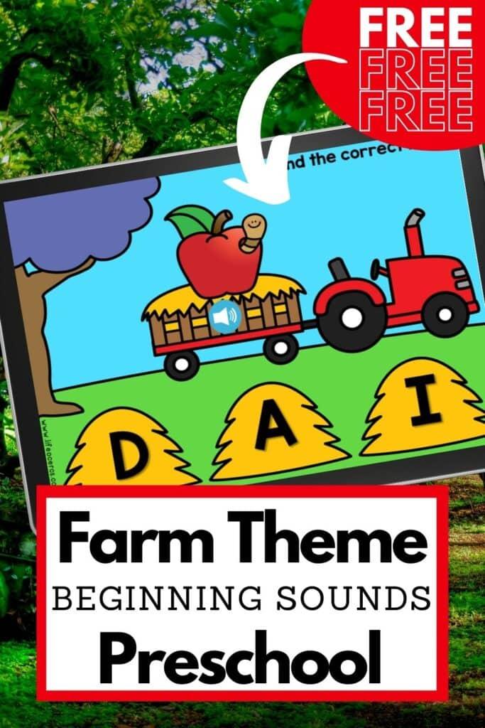 farm theme beginning sounds activity for preschool