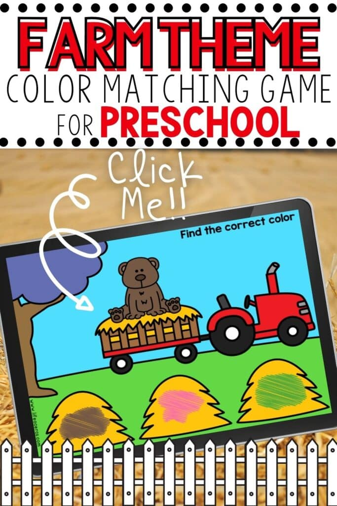 Farm Theme Color Matching Game for Preschool