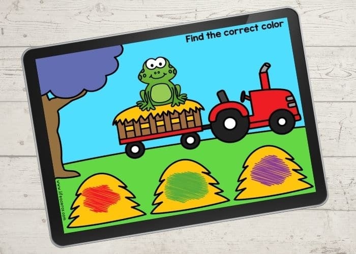 """The slide for the color """"green"""" from the free digital farm theme color activities for preschool."""
