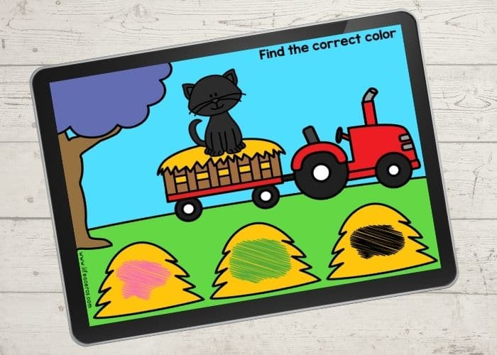 """The slide for the color """"black"""" from the free digital farm theme color activities for preschool."""