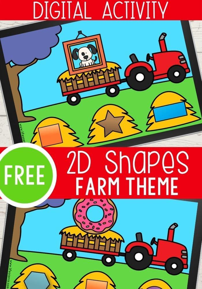 Free Digital Farm Theme Preschool Activity for Identifying Shapes