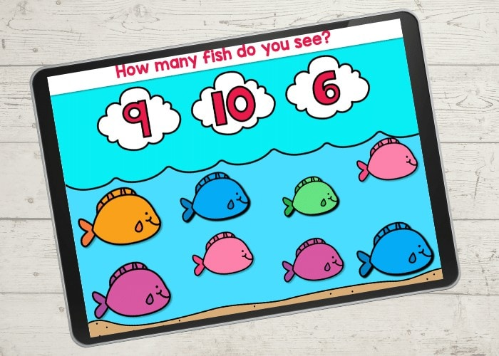 Fish arrays for teaching preschoolers to count with a free digital game.