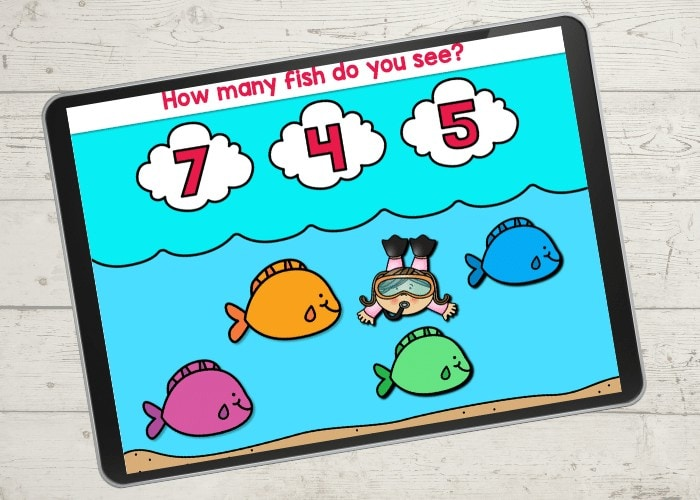 Digital game for learning to count with a fish theme.