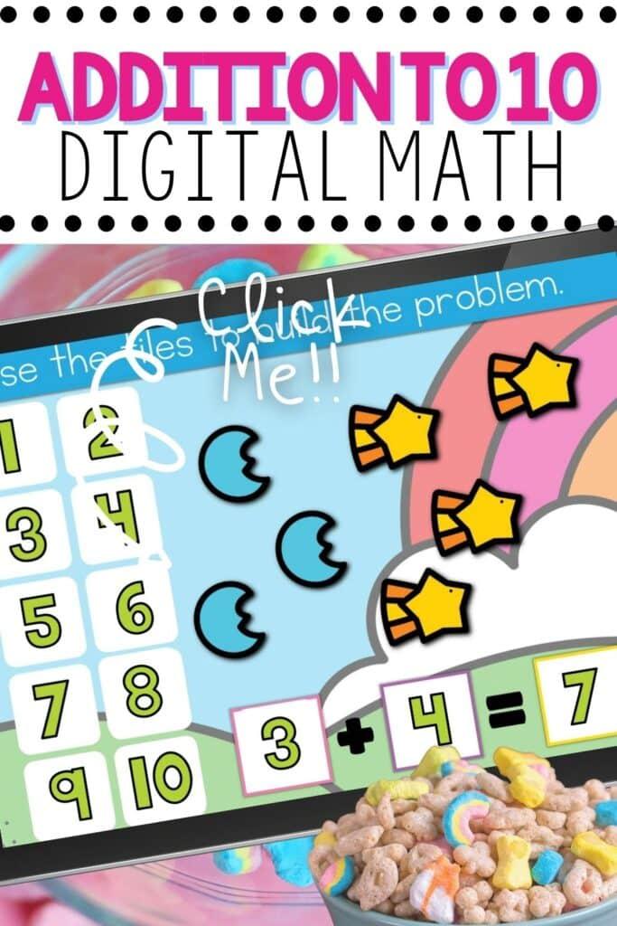 Addition for Kindergarten Addition problem 3+4=7 shown using digital marshmallow cereal