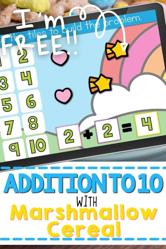Addition problem 2+2 shown using lucky marshmallow cereal on an iPad