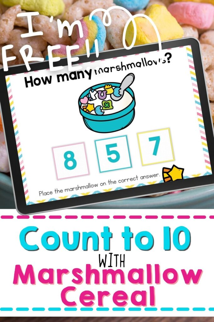 counting marshmallows in a cereal bowl digital counting idea for kindergarten and preschool virtual learning