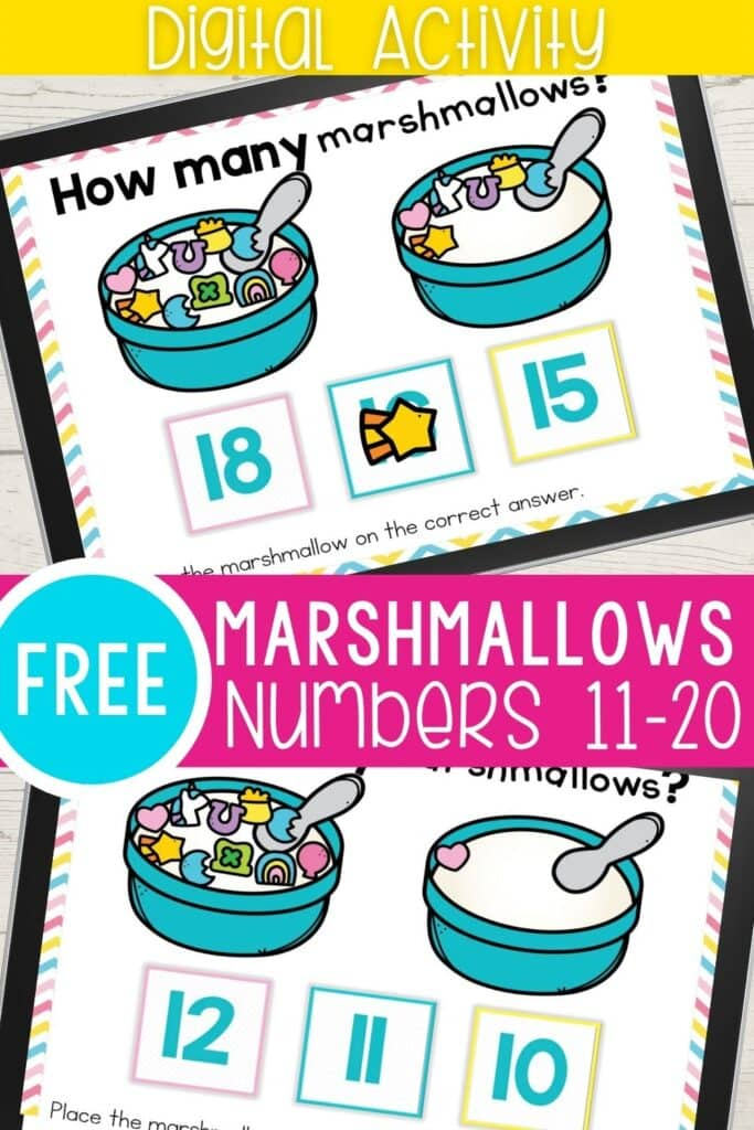 Free Marshmallows Numbers 11-20 Digital Activity
