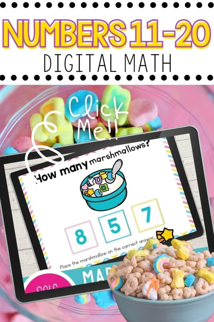 Marshmallow Cereal Theme Numbers 11-20 Digital Math Activity