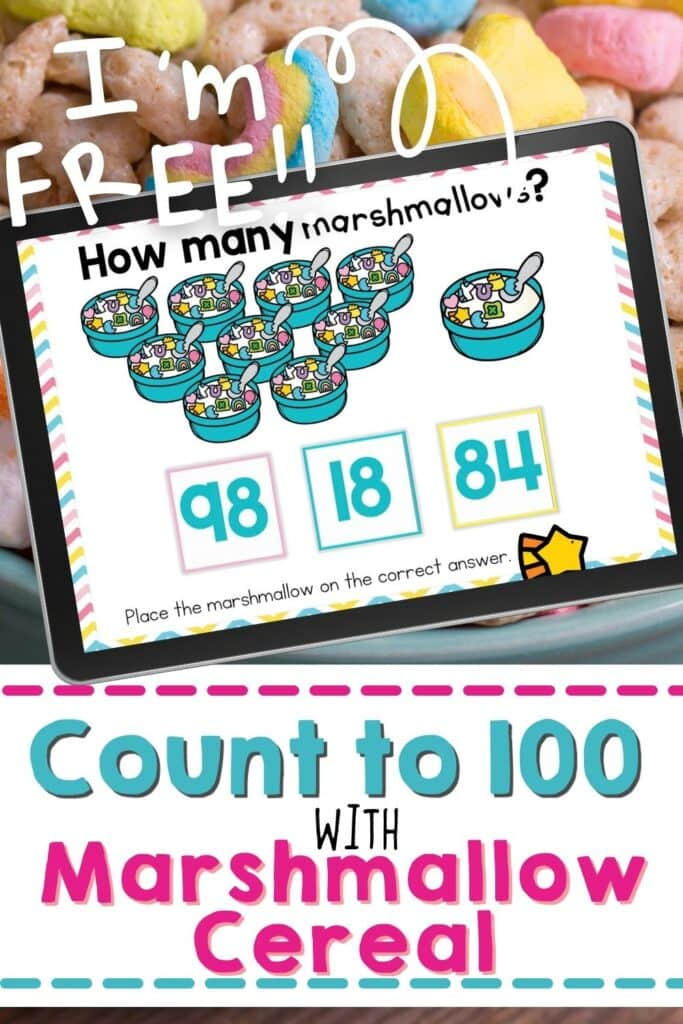 marshmallow cereal counting sets for kindergarten math count to 100