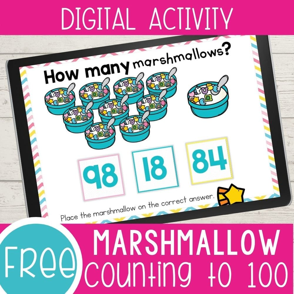 count the marshmallows online counting game for kindergarten. Image shows 98